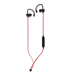 Наушники беспроводные LuazON VBT 1.5, крепление за ухо, плоский провод, красно-черные