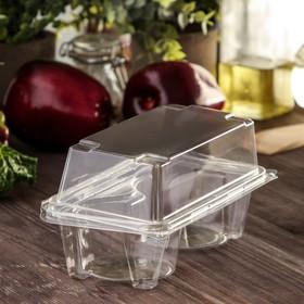 Контейнер одноразовый с неразъёмной крышкой ПР-ПК62С2 на 2 кекса, 18,8×13,8 см, 200 шт/уп