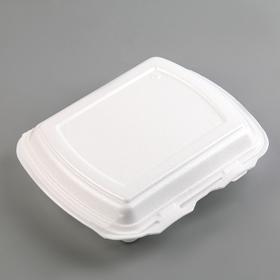Ланч-бокс, 24,7×20,8×6,3 см, 3 секции, 130 шт/уп, цвет белый