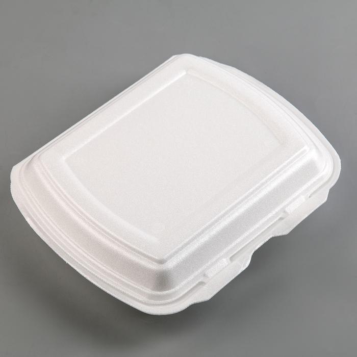 Ланч-бокс одноразовый, 24,7×20,8×6,3 см, 2-х секционный, цвет белый