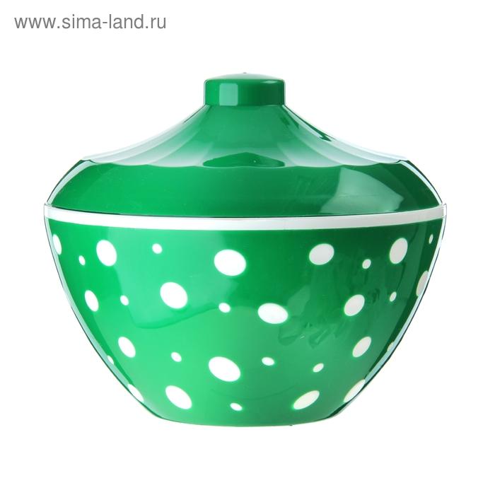 "Сахарница 500 мл ""Горошек"", цвет зеленый"