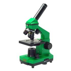 Микроскоп школьный Эврика 40х-400х в кейсе, цвет лайм