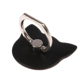 Держатель-подставка с кольцом для телефона LuazON, в форме 'Кошки', чёрный Ош