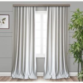 Шторы портьерные «Матовый», размер 190 × 275 см-2 шт, блэкаут, серый