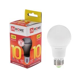 Лампа светодиодная IN HOME LED-A60-VC, Е27, 10 Вт, 230 В, 3000 К, 900 Лм