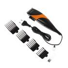 Машинка для стрижки волос Scarlett SC-HC63C14, 7 Вт, сеть, 4 насадки, черно-оранжевая