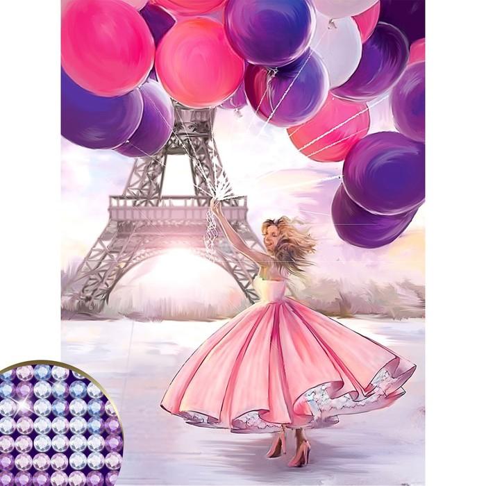 """Алмазная вышивка с частичным заполнением на раме """"Париж"""" 30*40 см"""