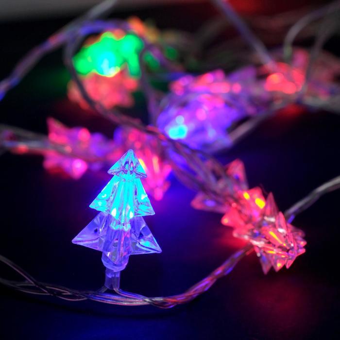 """Гирлянда """"Нить"""" 5 м с насадками """"Ёлки маленькие"""", IP20, прозрачная нить, 20 LED, свечение мульти, мигание, 220 В"""