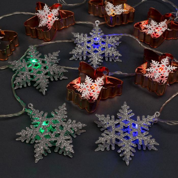 """Гирлянда """"Нить"""" 4 м с насадками """"Снежинки и ангел"""", IP20, прозрачная нить, 20 LED, свечение мульти, 8 режимов, 220 В"""