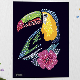 Мозаика стразами «Тукан с цветком». Набор для творчества