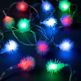 """Гирлянда """"Нить"""" 5 м с насадками """"Ёжики"""", IP20, прозрачная нить, 20 LED, свечение RG/RB, мигание, 220 В"""