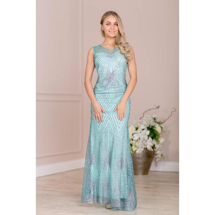 """Платье женское MINAKU """"Emmie"""", длинное, размер 42, цвет бирюзовый/серебро - фото 726795933"""