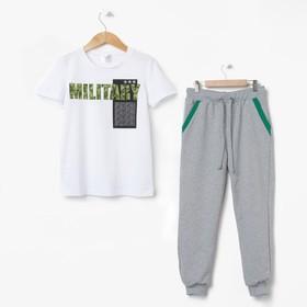 "Pajamas for boy MINAKU ""Military"", height 98-104, color gray/white"