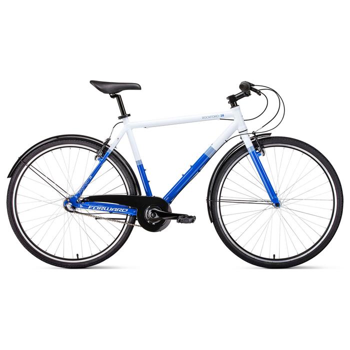 "Велосипед 28"" Forward Rockford, 2019, цвет белый/синий, размер рамы 540 мм"
