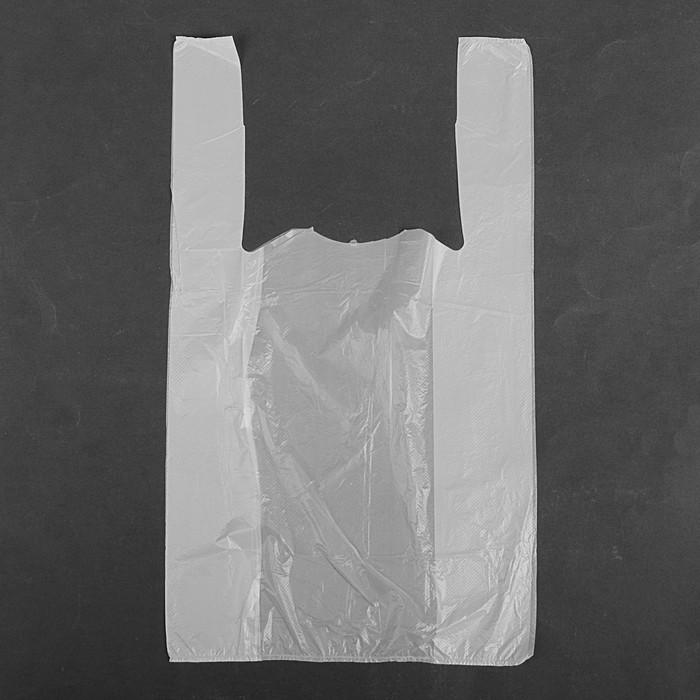 """Пакет """"Белый"""", полиэтиленовый, майка, 25 х 45 см, 9 мкм"""