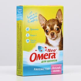 """Лакомство Омега Neo+ С-М с пребиотиком """"Веселый малыш"""" для щенков, 60 таб"""