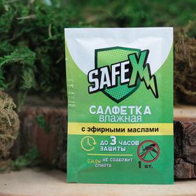Влажная салфетка от комаров на основе натуральных эфирных масел, SAFEX 1 шт Ош