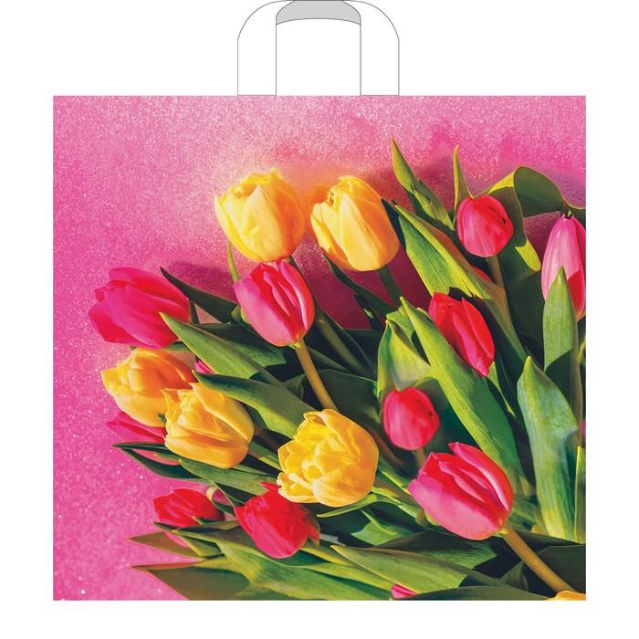 """Пакет """"Царственные тюльпаны"""", полиэтиленовый с петлевой ручкой, 38х35 см, 85 мкм"""