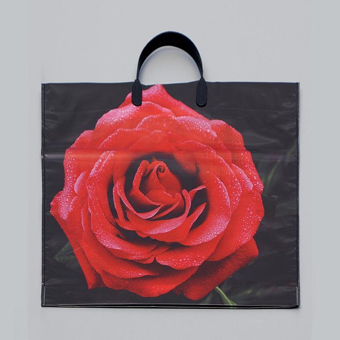 """Пакет """"Красная роза"""", полиэтиленовый с пластиковой ручкой, 38 х 35 см, 100 мкм - фото 308291995"""