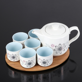 "Tea set ""Flower"", 12 items: kettle 600 ml, 6 cups, 100 ml, on a wooden stand"