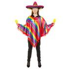 Мексиканское пончо, радужные диагональные полоски с красной бахромой