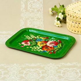 Tray Zhostovo Flowers, smooth, author Savrasov, 38x28 cm, rectangular, green.