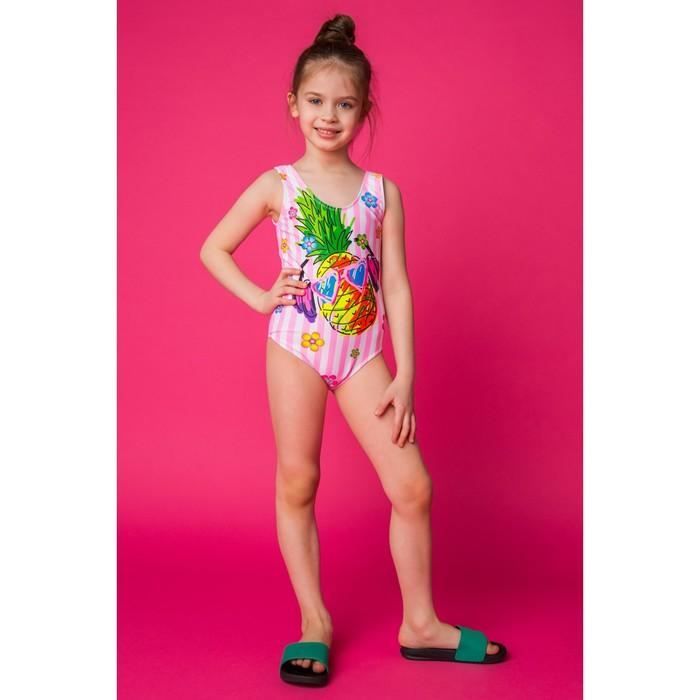 """Купальник слитный для девочки MINAKU """"Ananas"""", размер 110-116, цвет розово-белый"""