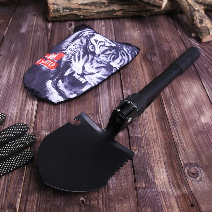 Лопата комбинированная «Сила и характер»: пилка, открывалка, мотыжка, прорезиненная рукоять
