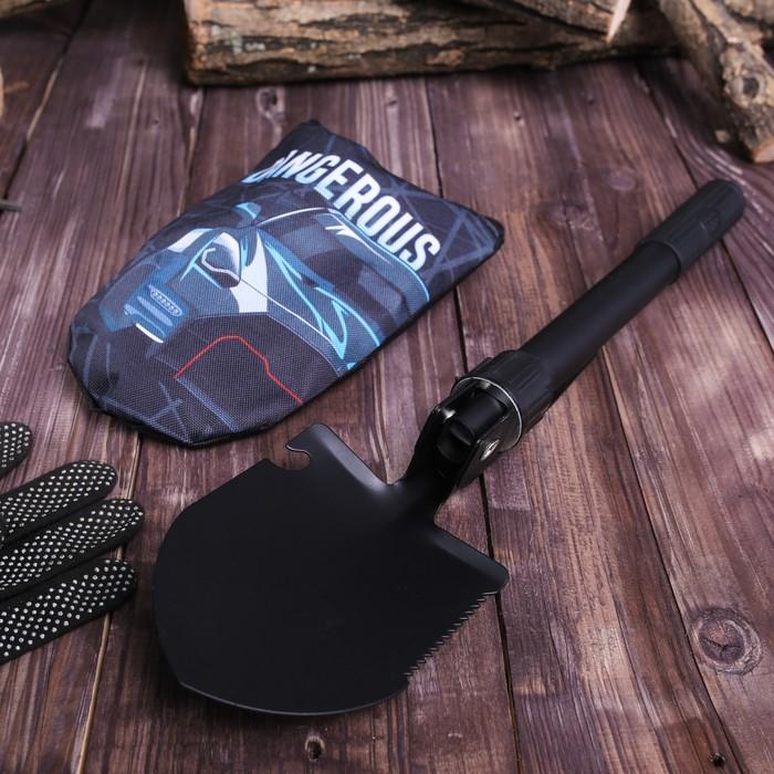 Лопата комбинированная «Dangerous»: пилка, открывалка, мотыжка, прорезиненная рукоять