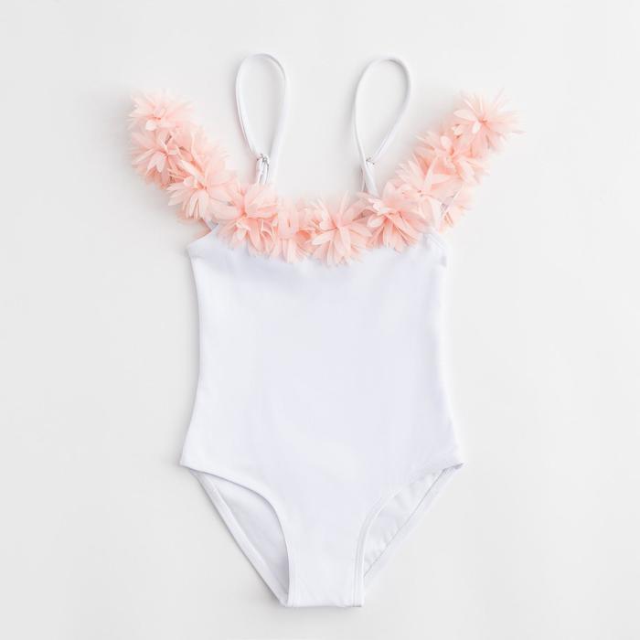 """Купальник слитный для девочки MINAKU """"Paradise"""", размер 110-116, цвет белый"""