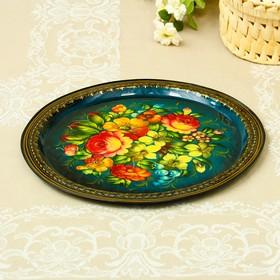 Tray Zhostovo Flowers, smooth, author Vishnyakova, D=32 cm, medium, round