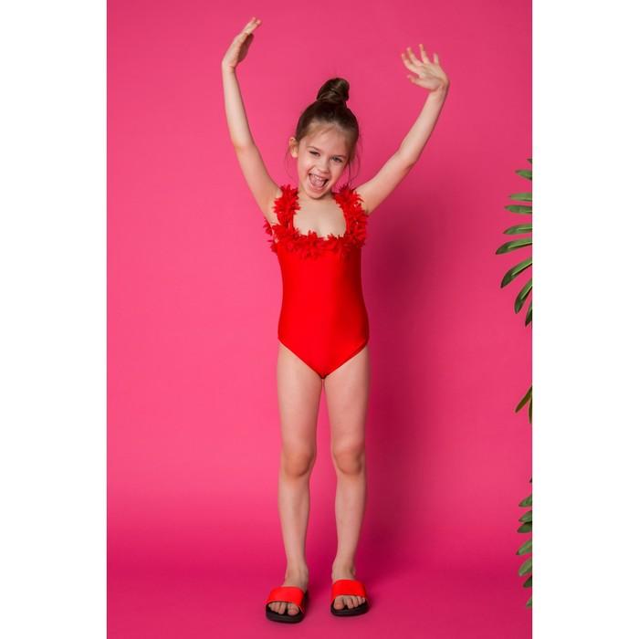 """Купальник слитный для девочки MINAKU """"Paradise"""", размер 134-140, цвет красный"""