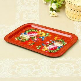 Tray Zhostovo Flowers, smooth, author Vishnyakova, 38x28 cm, rectangular, red.