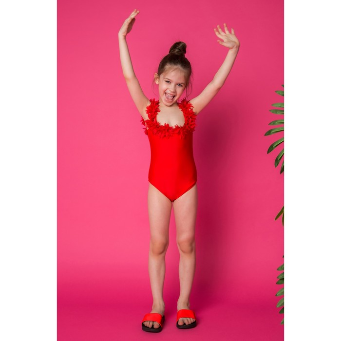 """Купальник слитный для девочки MINAKU """"Paradise"""", размер 98-104, цвет красный"""