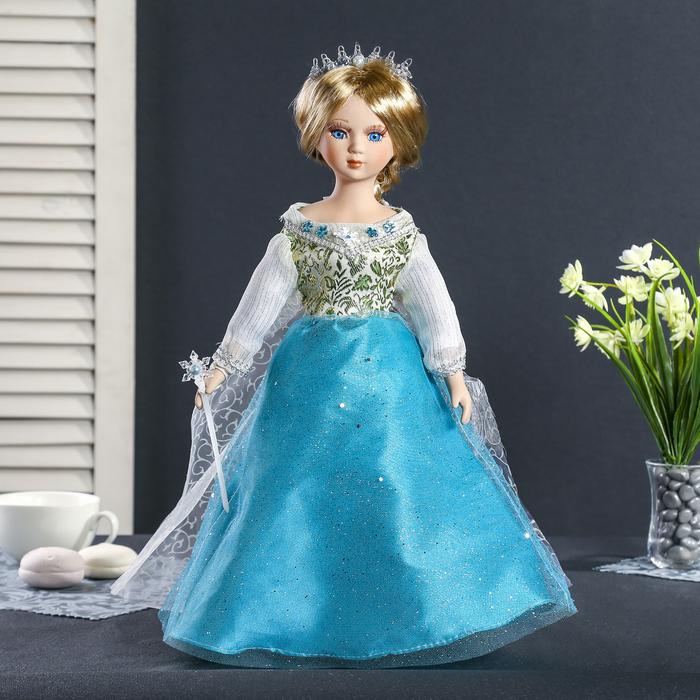 """Кукла коллекционная керамика """"Агния в голубом платье с блёстками"""" 40 см"""