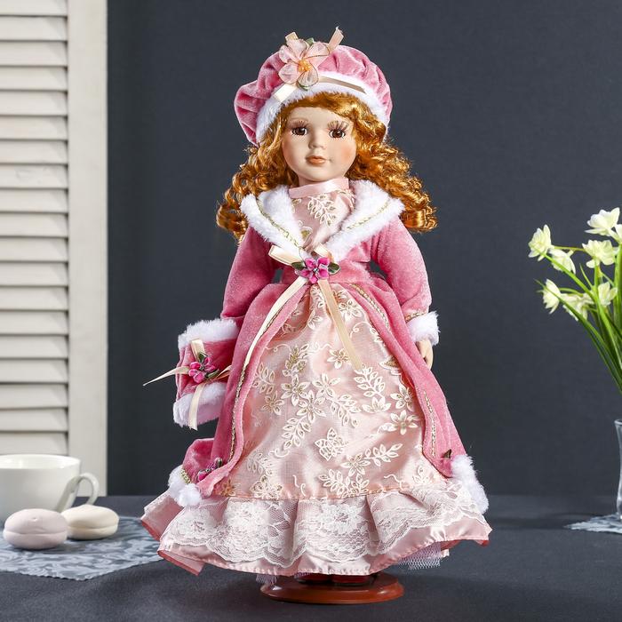 """Кукла коллекционная керамика """"Ариша в розовом платье и пальто с муфтой"""" 40 см"""