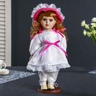 "Collectible ceramic doll ""Irina in a white dress with pink drawstrings"" 30 cm"