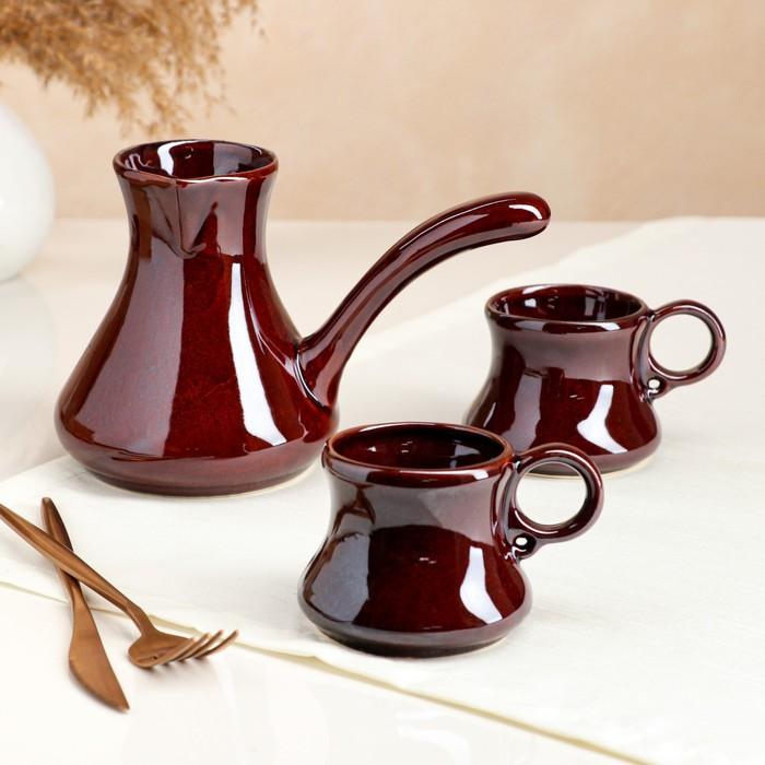 "Кофейный набор ""Шоколад"", турка и 2 чашки, коричневый, 0.7/0.25 л"