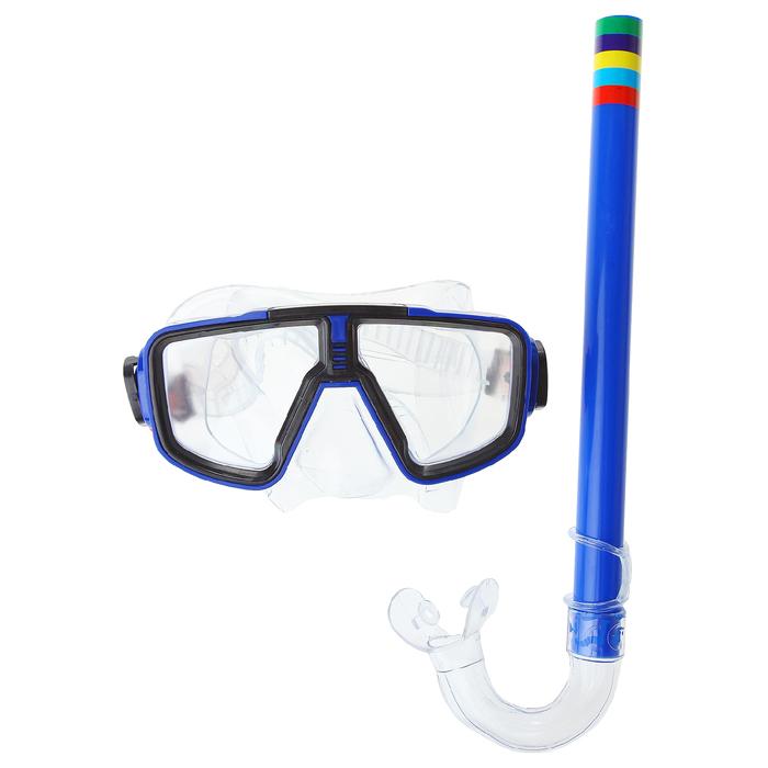 Набор для плавания детский, 3 предмета: маска, трубка, ласты безразмерные, в пакете, МИКС
