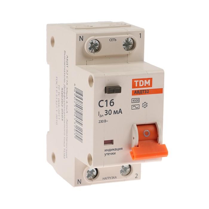 Дифференциальный автомат TDM АВДТ 32, 2п, 16 А, 30 мА, 4.5 кА, SQ0202-0503