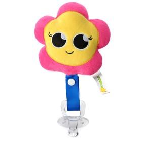 Пустышка/комфортер «Цветочек», силиконовая, с мягкой игрушкой от 3 мес