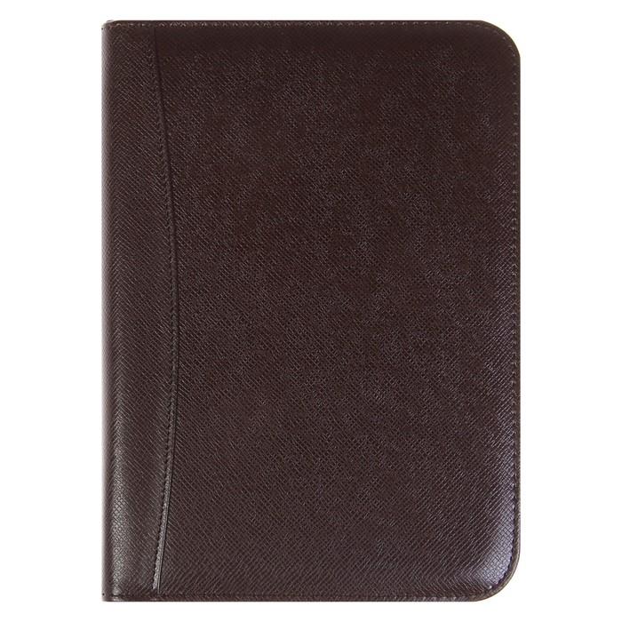 Органайзер на кольцах, формат А5, 100 листов, линия, с калькулятором, коричневый, на молнии - фото 282122632
