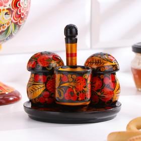 """Set for spices """"Mushrooms"""", Khokhloma"""