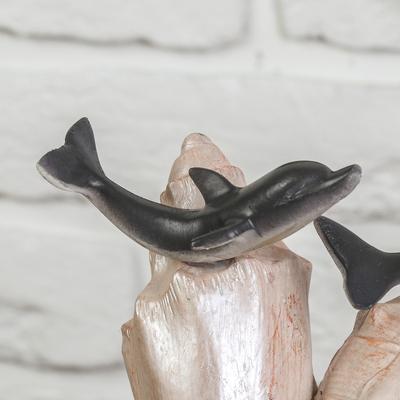 """Фонтан """"Дельфины на ракушках"""" 18*18*23 см (с подсветкой)"""