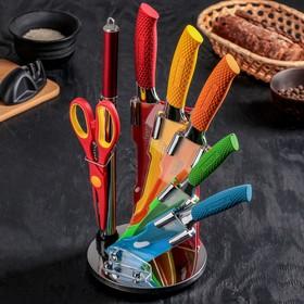 Набор кухонный, 7 предметов, на подставке, цвет МИКС