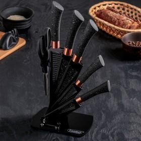 Набор кухонный на подставке, 6 предметов: 5 ножей, лезвие 20 см, 24,5 см, 30 см, 33 см, 33 см, ножницы, цвет чёрный