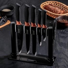 Набор кухонный на подставке, 6 предметов: 5 ножей, лезвие 20 см, 24 см, 32 см, 32 см, 32,5 см, ножницы, цвет чёрный