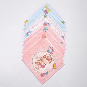 Набор платков носовых детских 18х18 см, 12шт, рис 5468 микс, 100г/м хл100%