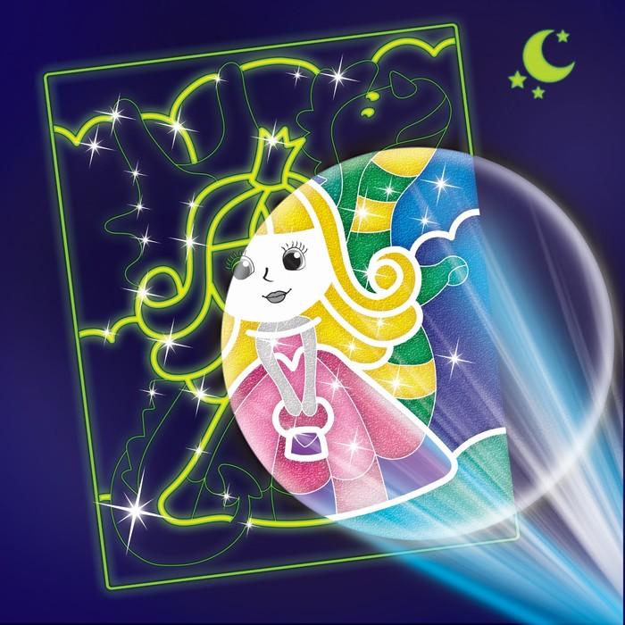 Набор для творчества. Лунная фреска «Принцесса и дракон», светящийся песок + блёстки - фото 798190214