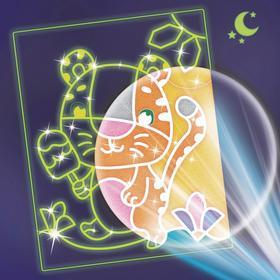 Набор для творчества. Лунная фреска «Тигрёнок с мороженым», светящийся песок + блёстки